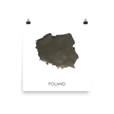 "Poland Poster Slate-10""x10"" - 25.4cm x 25.4cm-topographic wall art map by MapScaping"