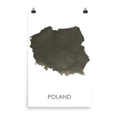 "Poland Poster Slate-18""×24"" - 45.72cm x 60.96cm-topographic wall art map by MapScaping"