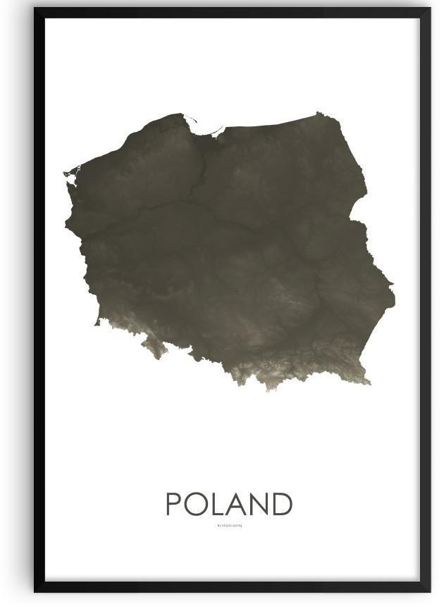 Poland Poster Slate-topographic wall art map by MapScaping