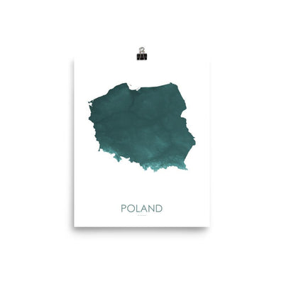 "Poland Poster Teal-8""x10"" - 20.32cm x 25.4cm-topographic wall art map by MapScaping"