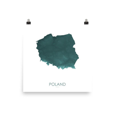 "Poland Poster Teal-10""x10"" - 25.4cm x 25.4cm-topographic wall art map by MapScaping"