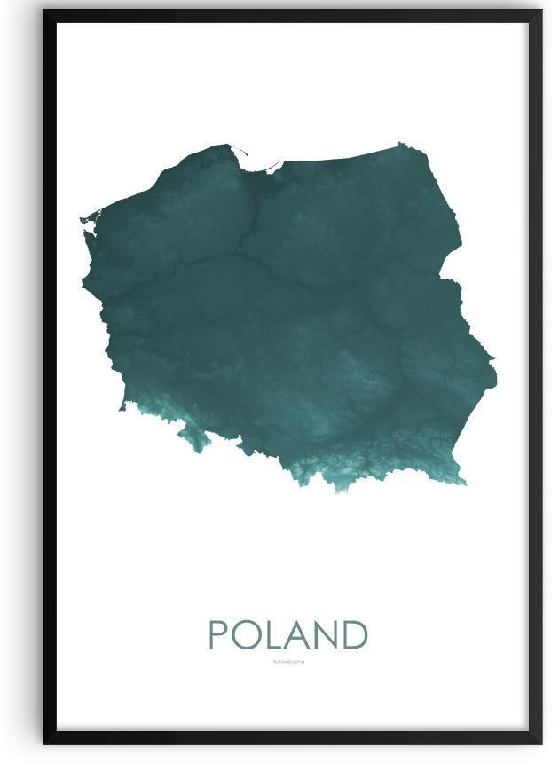 Poland Poster Teal-topographic wall art map by MapScaping