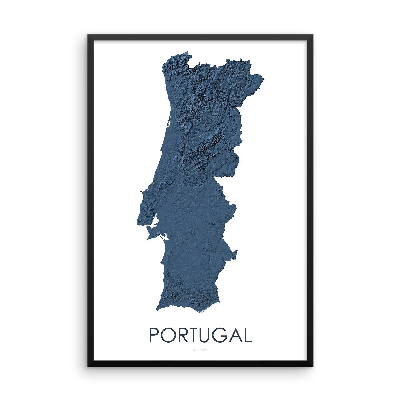 Portugal Map 3D Midnight Blue-Topographic Map