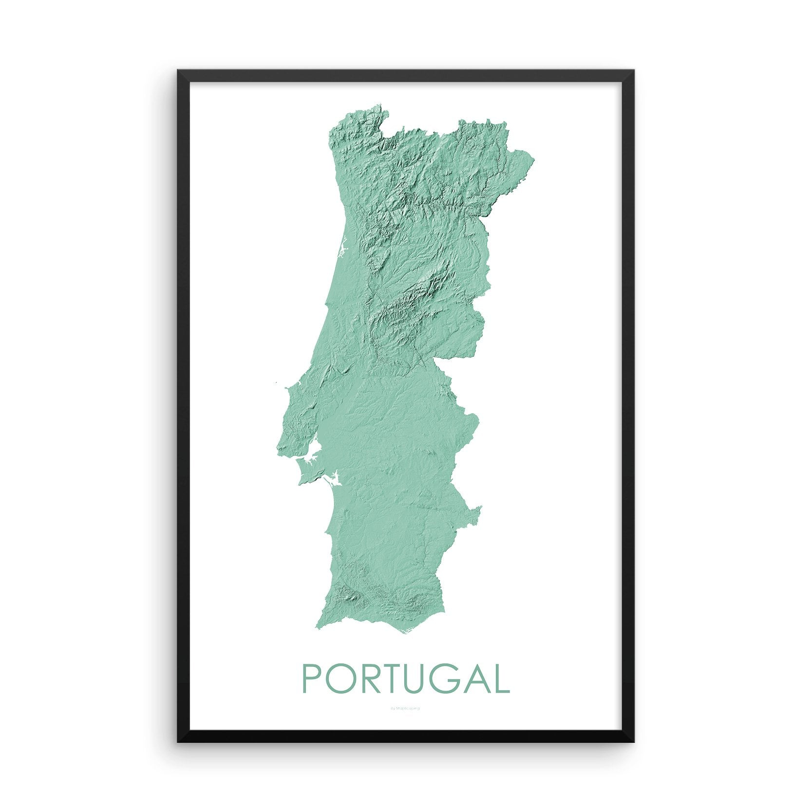 Portugal Map 3D Mint-Topographic Map