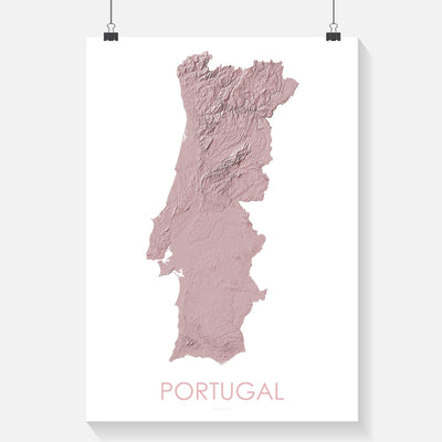 Portugal Map 3D Rose-Topographic Map