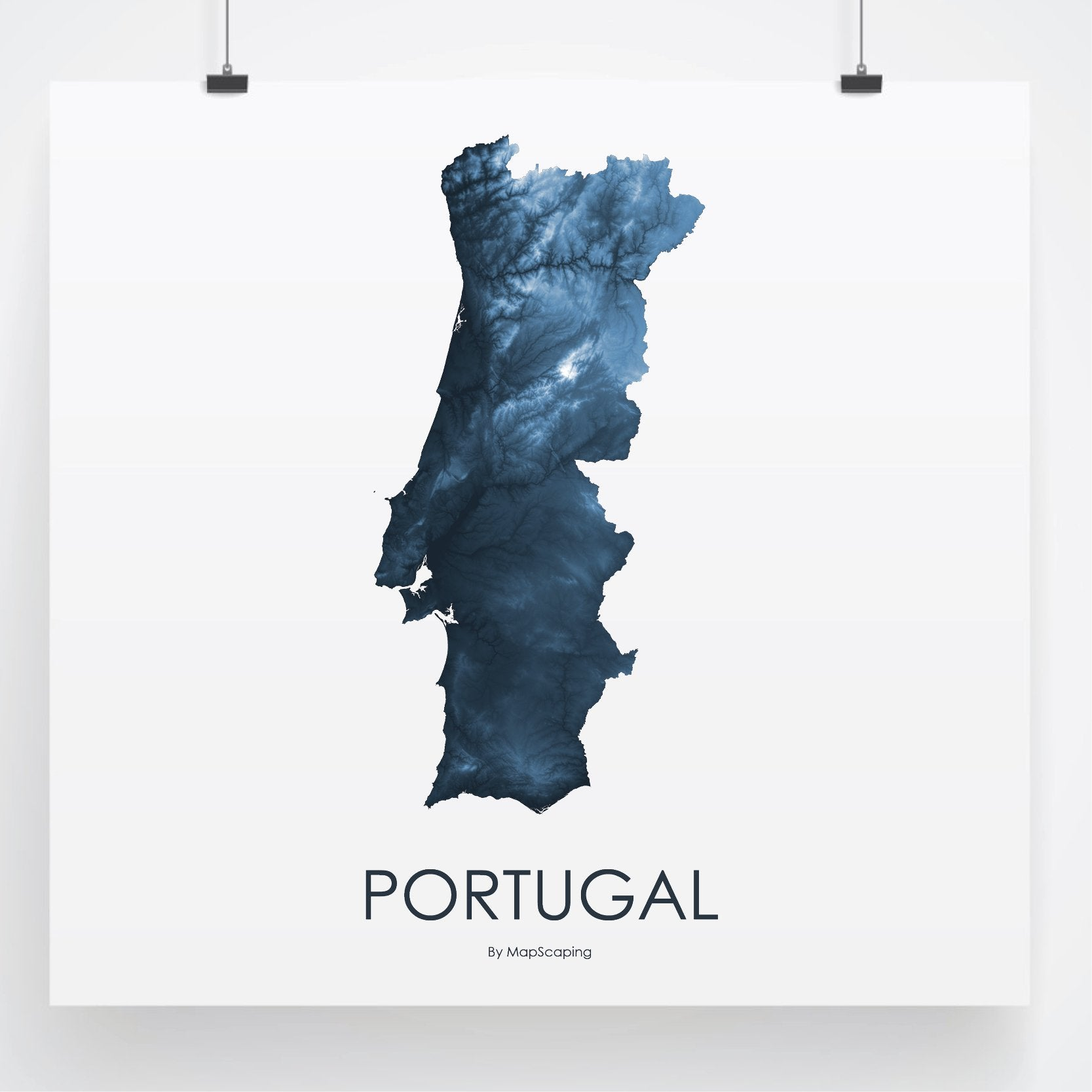 Portugal topographic wall art map - MapScaping.com