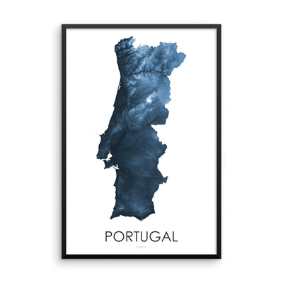 Portugal Map Midnight Blue-Topographic Map