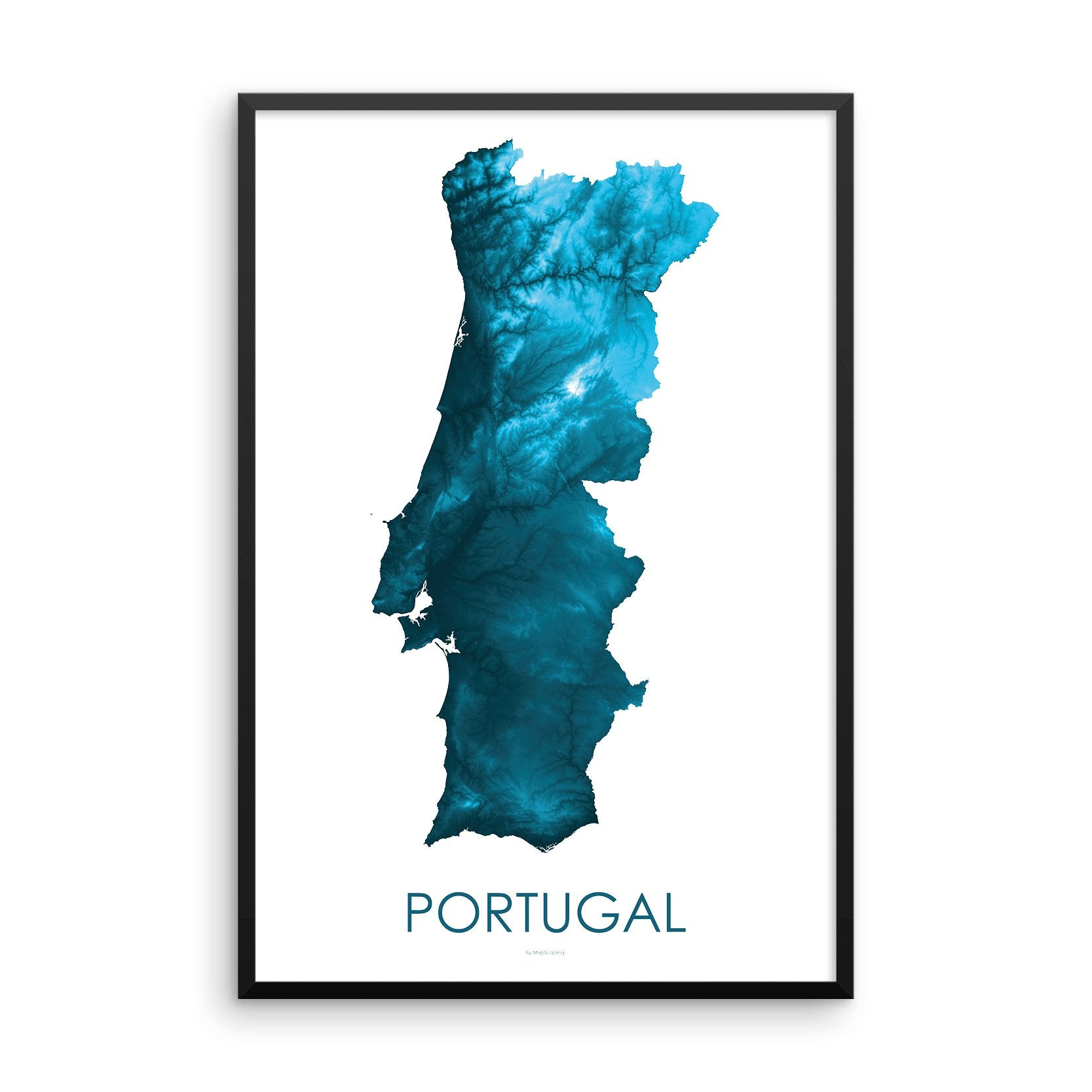 Portugal Map Petroleum Blue-Topographic Map
