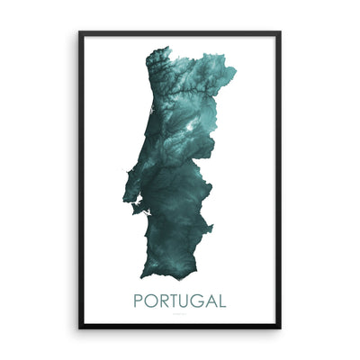 Portugal Map Teal-Topographic Map