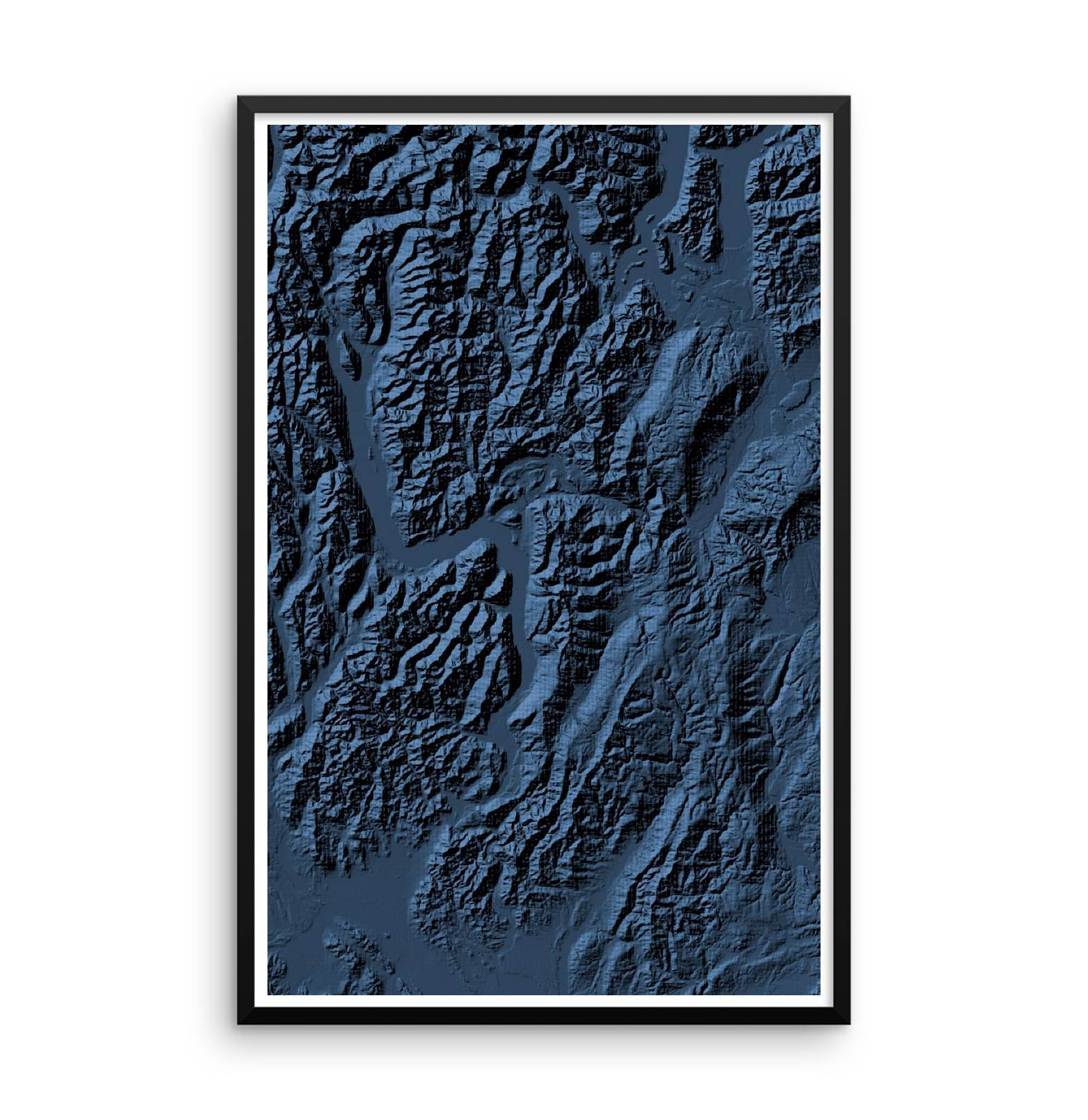 Pre Order Poster 3D Midnight Blue-topographic wall art map by MapScaping