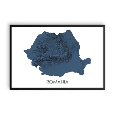 Romania Map 3D Midnight Blue-Topographic Map