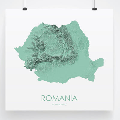 Romania Map 3D Mint-Topographic Map