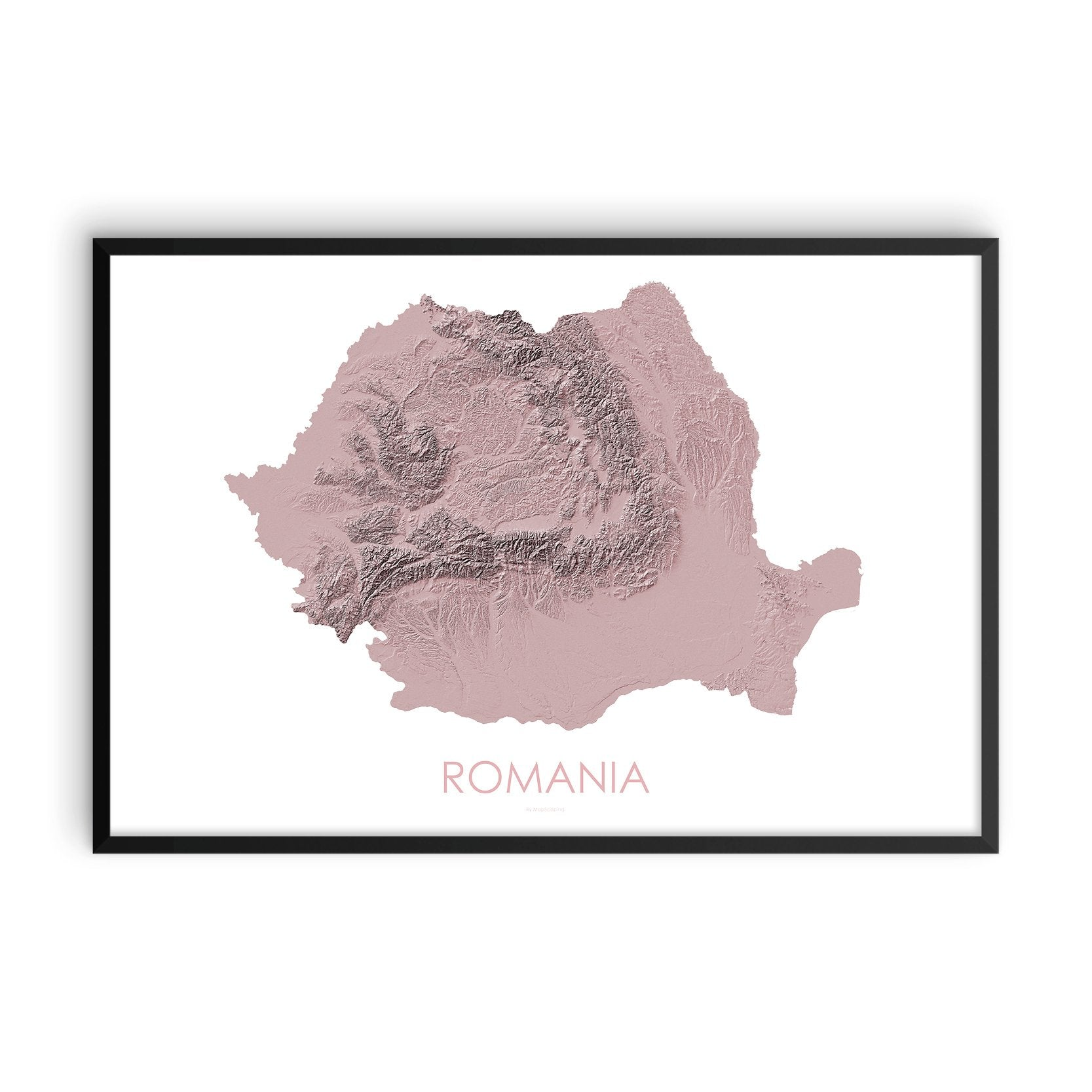 Romania Map 3D Rose-Topographic Map