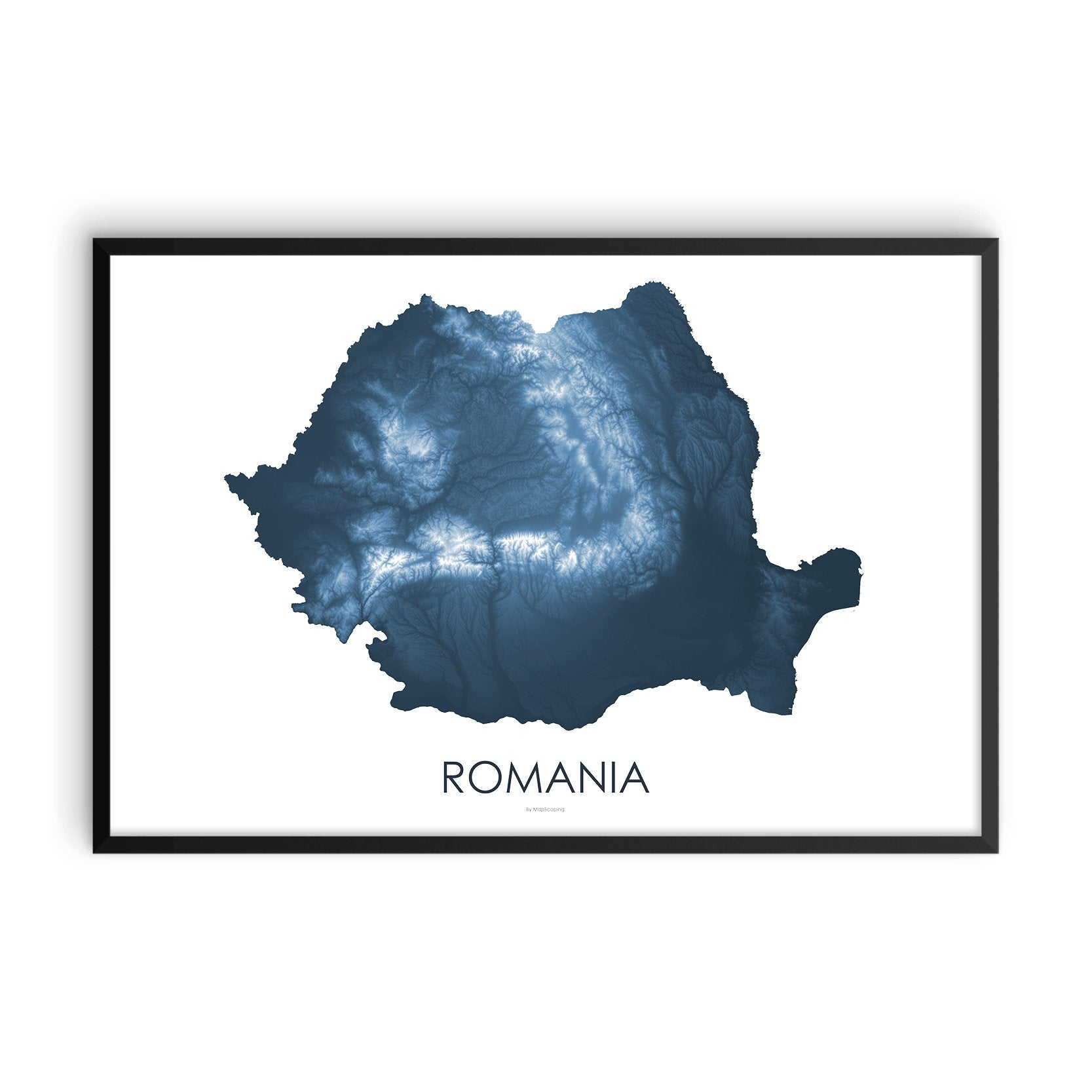 Romania Map Midnight Blue-Topographic Map