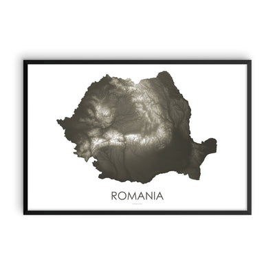 Romania Map Slate-Topographic Map