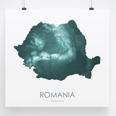 Romania Map Teal-Topographic Map