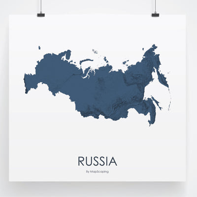 Russia Map 3D Midnight Blue-Topographic Map