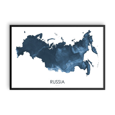 Russia Map Midnight Blue-Topographic Map