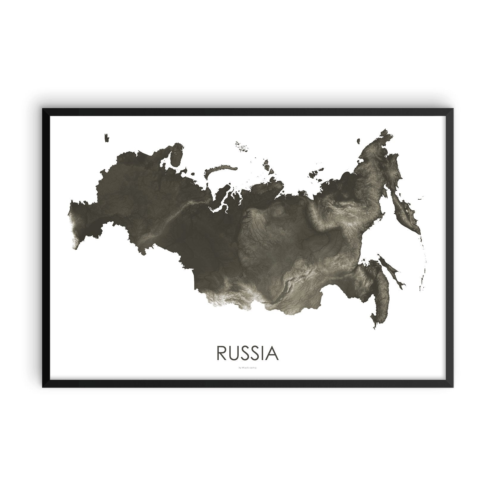 Russia Map Slate-Topographic Map