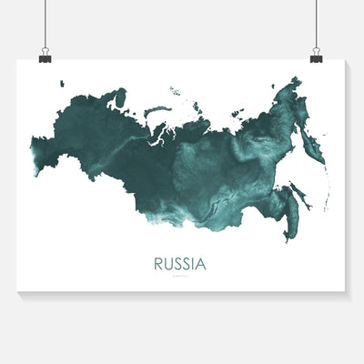 Russia Map Teal-Topographic Map