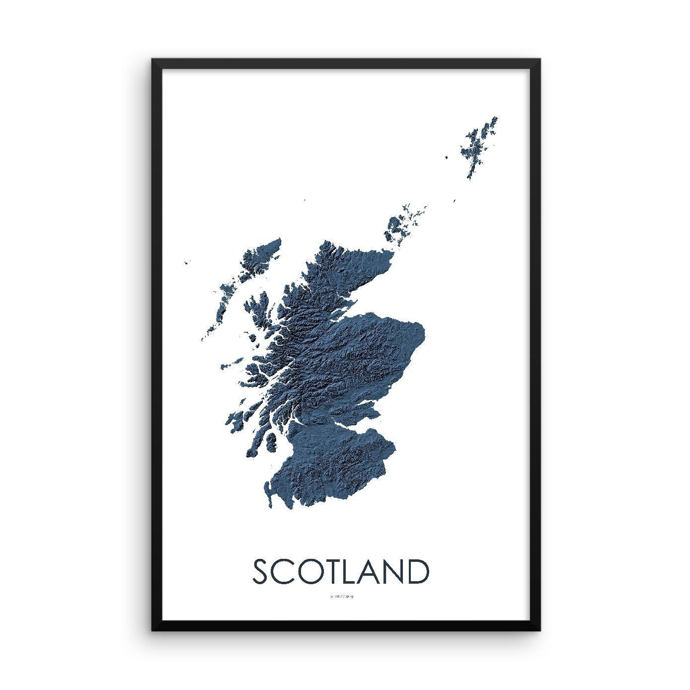 Scotland Poster 3D Midnight Blue-topographic wall art map by MapScaping