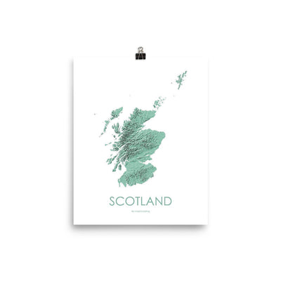 "Scotland Poster 3D Mint-8""x10"" - 20.32cm x 25.4cm-topographic wall art map by MapScaping"