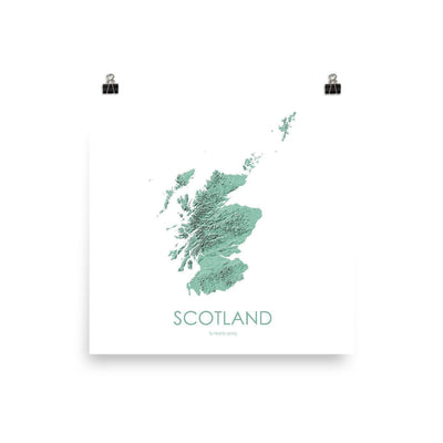 "Scotland Poster 3D Mint-10""x10"" - 25.4cm x 25.4cm-topographic wall art map by MapScaping"