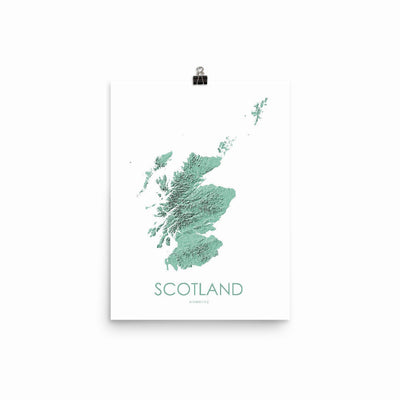 "Scotland Poster 3D Mint-12""x16"" -30.48cm x 40.64cm-topographic wall art map by MapScaping"