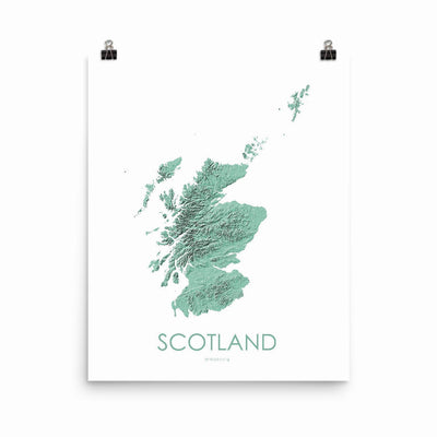 "Scotland Poster 3D Mint-16""×20"" - 40.64cm x 50.8cm-topographic wall art map by MapScaping"