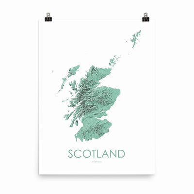 "Scotland Poster 3D Mint-18""×24"" - 45.72cm x 60.96cm-topographic wall art map by MapScaping"