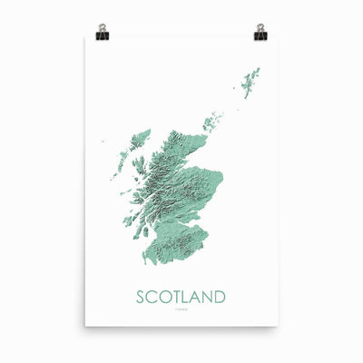 "Scotland Poster 3D Mint-24""×36"" - 60.96cm x 91.44cm-topographic wall art map by MapScaping"