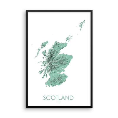 Scotland Poster 3D Mint-topographic wall art map by MapScaping