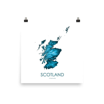 "Scotland Poster Petroleum Blue-10""x10"" - 25.4cm x 25.4cm-topographic wall art map by MapScaping"