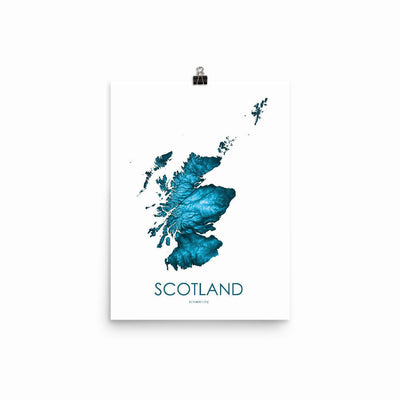 "Scotland Poster Petroleum Blue-12""x16"" -30.48cm x 40.64cm-topographic wall art map by MapScaping"