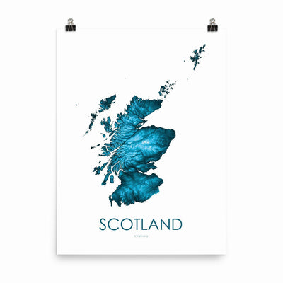 "Scotland Poster Petroleum Blue-18""×24"" - 45.72cm x 60.96cm-topographic wall art map by MapScaping"