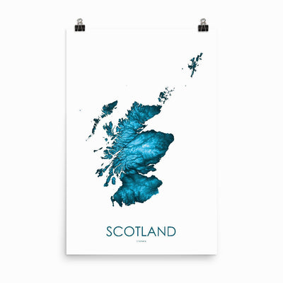 "Scotland Poster Petroleum Blue-24""×36"" - 60.96cm x 91.44cm-topographic wall art map by MapScaping"