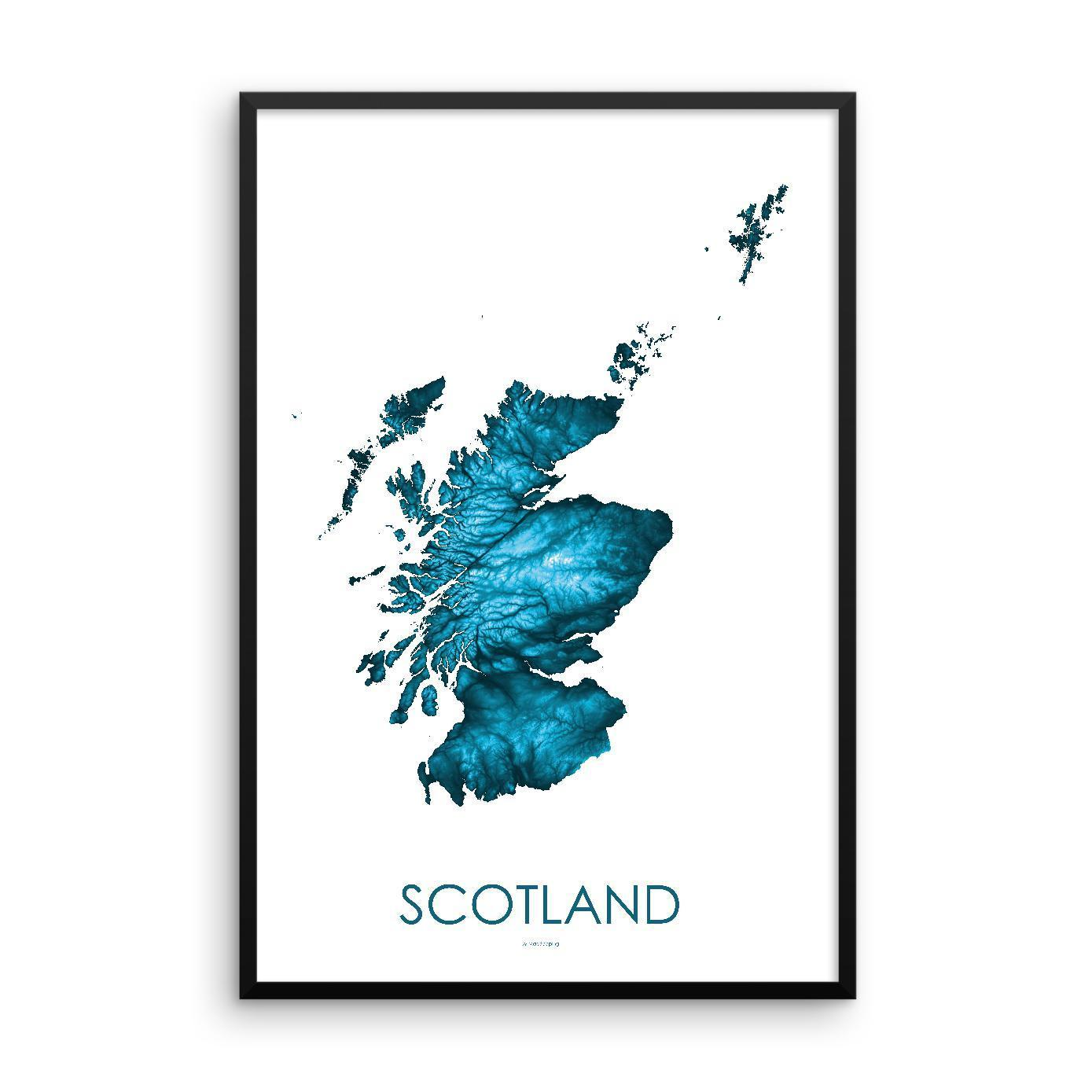 Scotland Poster Petroleum Blue-topographic wall art map by MapScaping