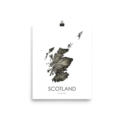 "Scotland Poster Slate-8""x10"" - 20.32cm x 25.4cm-topographic wall art map by MapScaping"