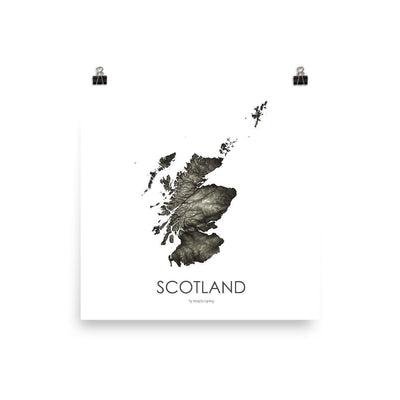 "Scotland Poster Slate-10""x10"" - 25.4cm x 25.4cm-topographic wall art map by MapScaping"