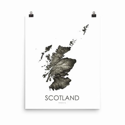"Scotland Poster Slate-16""×20"" - 40.64cm x 50.8cm-topographic wall art map by MapScaping"