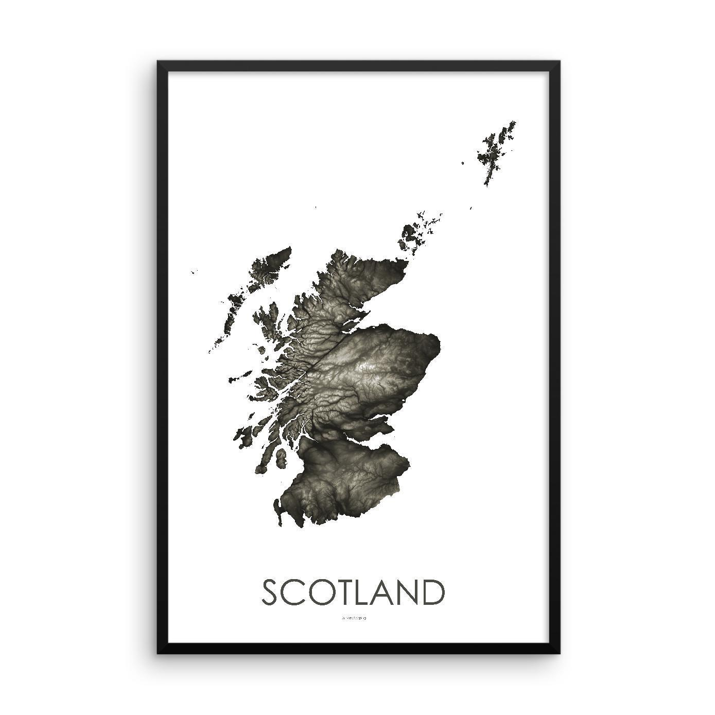 Scotland Poster Slate-topographic wall art map by MapScaping