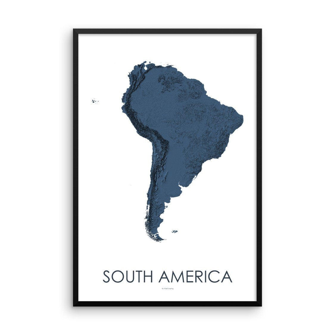 South America Map 3D Midnight Blue-Topographic Map