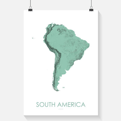 South America Map 3D Mint-Topographic Map
