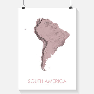 South America Map 3D Rose-Topographic Map