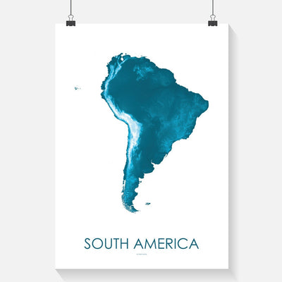 South America Map Petroleum Blue-Topographic Map