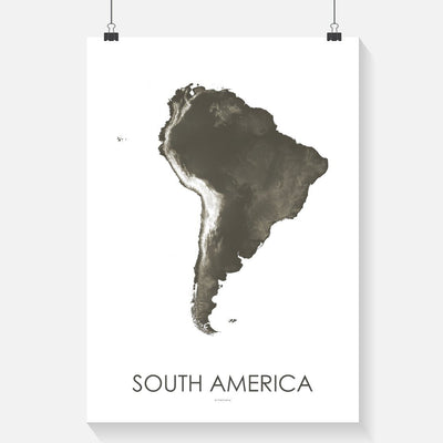 South America Map Slate-Topographic Map