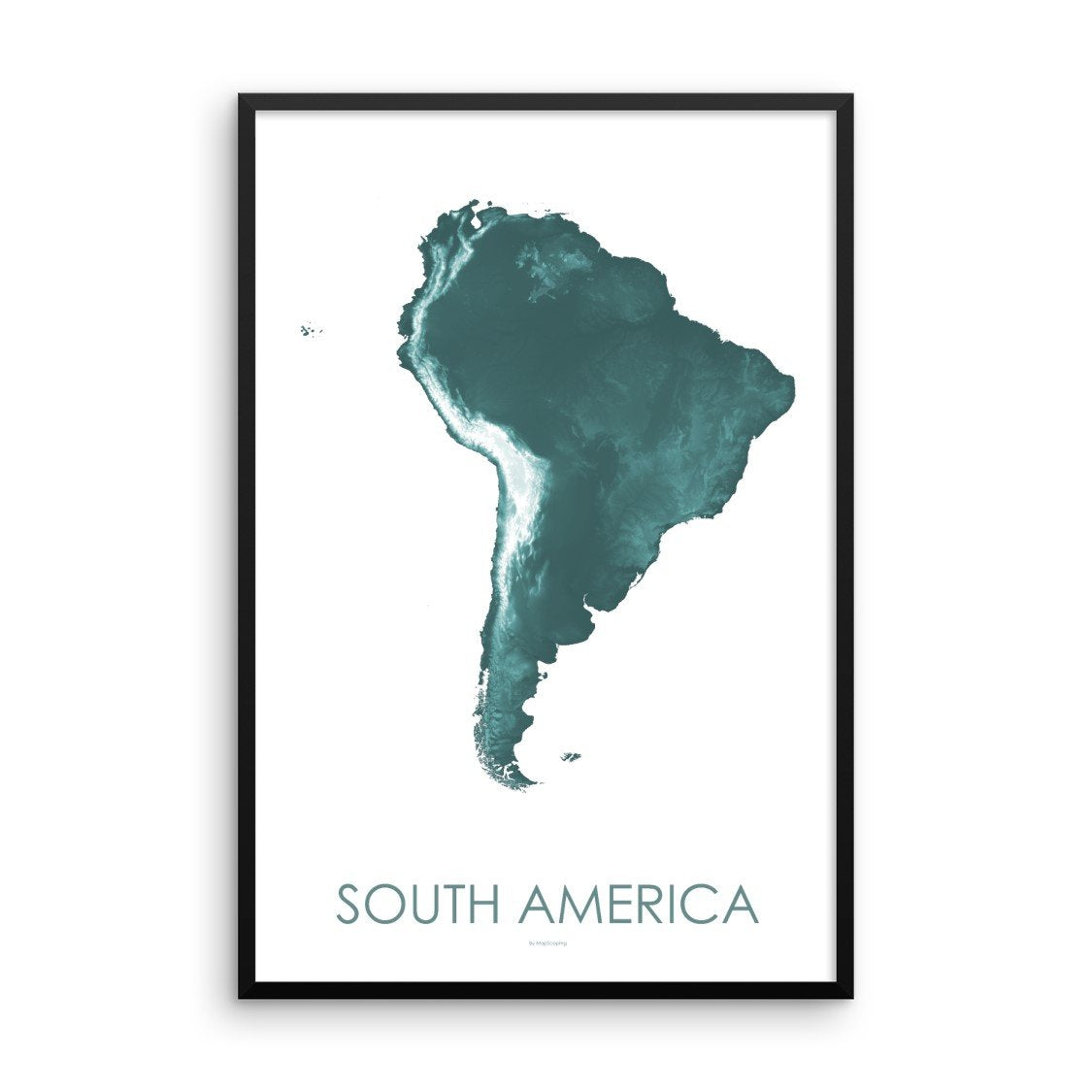 South America Map Teal-Topographic Map