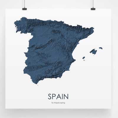 Spain Map 3D Midnight Blue-Topographic Map