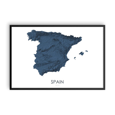 3d Map Of Spain.Spain Map 3d Midnight Blue