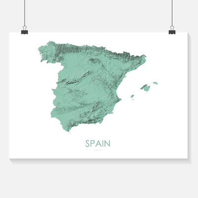Spain Map 3D Mint-Topographic Map